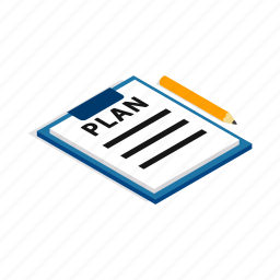 business, concept, data, document, isometric, paper, plan icon