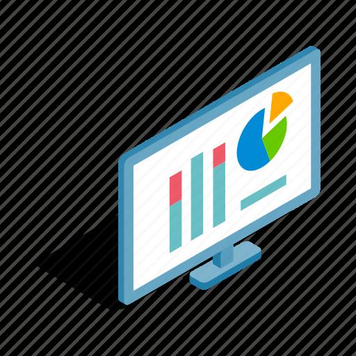 business, charts, diagram, graph, isometric, monitor, progress icon