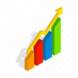 arrow, business, chart, diagram, graph, isometric, up icon