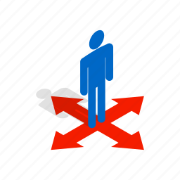 choice, concept, crossroads, direction, isometric, man, solution icon