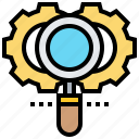 algebra, boolean, gears, magnifying, search icon