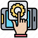 content, hand, management, smartphone, systems icon
