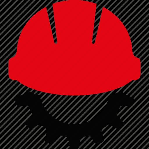 development, engineering, equipment, gear, helmet, industry, work icon