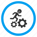 bulb, business, electricity, energy, gears, run, running man icon