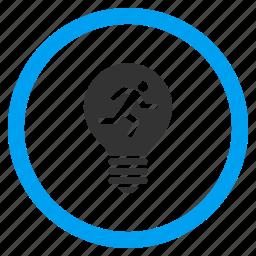 electrician, electricity, energy, light bulb, run, runner, running man icon