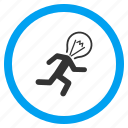 electrician, electricity, energy, light bulb, person, run, running man icon
