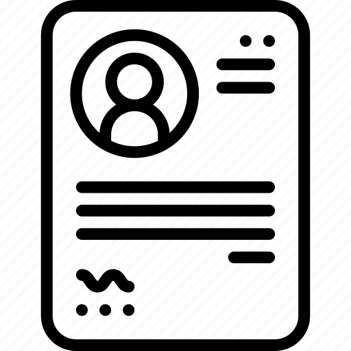 cv, document, file, job application, job profile, paper, resume icon