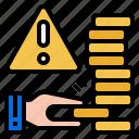 bankrupt, risk, business risk, financial risk, money risk icon