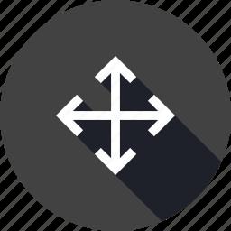 arrow, down, influence, left, maximum, resize, right icon