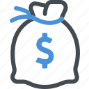 banking, finance, investment, money bag icon