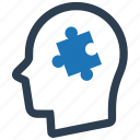 head, planning, psychology, puzzle, solution icon
