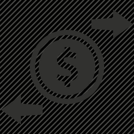 currency, dollar, exchange, money transaction, money transfer icon