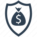business insurance, money, money insurance, money protection, protection, security, shield icon