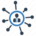business, communication, connection, link, man, network icon