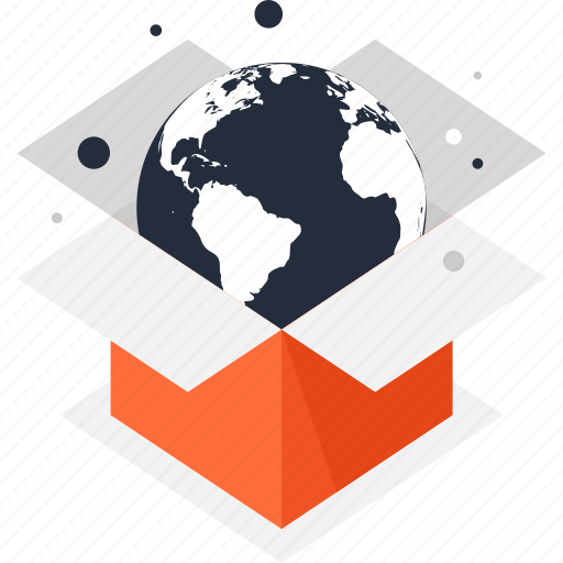 box, delivery, global, international, package, packaging, world icon