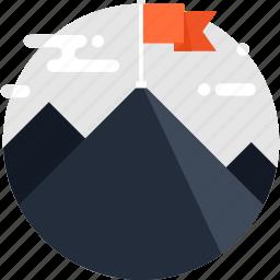 achievement, flag, goal, mission, mountain, success, target icon