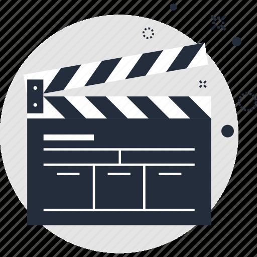 action, cinema, clapboard, clapper, film, movie, video icon