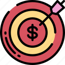 business, goals, on track, shoot, target icon