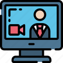 business, call, computer, conference, link, video icon