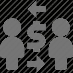 arrows, money, people, trade, transfer icon