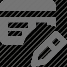 credit card, edit, pencil icon
