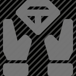 diamond, hand, share icon