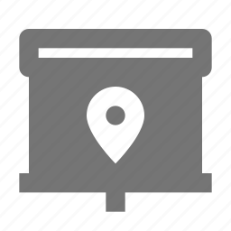 location, projector, screen icon