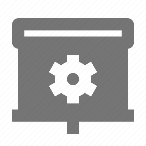 configuration, gear, projector, screen, settings icon