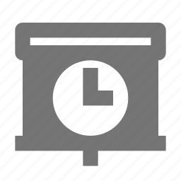 clock, projector, screen, time icon