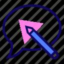 notes, pencil, speech bubble