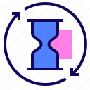 arrows, hourglass, time, timer icon