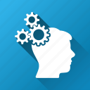 brain gears, creativity, intelligence, mechanical, mechanics, memory tools, technology icon
