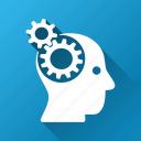 cyborg head, gears, genius, industrial, intellect, memory, technology icon