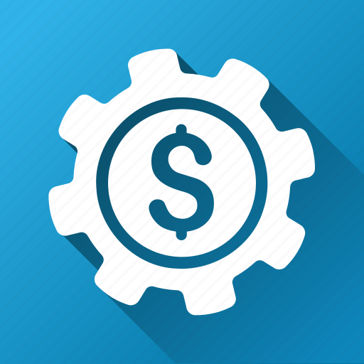 bank settings, business tools, dollar, financial industry, gear, money, payment options icon