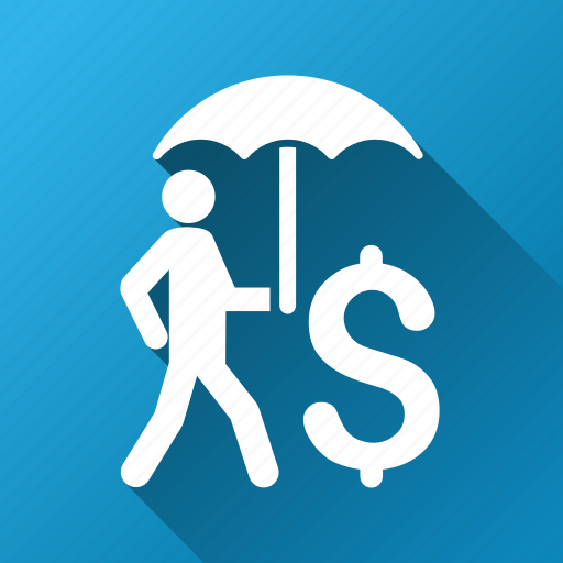 business, businessman, protection, safety, shield, umbrella, walking icon
