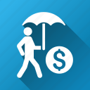 business protection, businessman, investor, money, safety, umbrella, walking icon