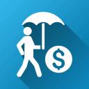 business protection, businessman, investor, money, safety, umbrella, walking icon