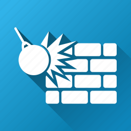 break, breakages, brick wall, crash, destroy, destruction, strike icon