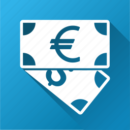business, cash, currency, dollar banknotes, euro, finance, money icon