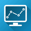 charts, computer, diagram, graphs, monitor, monitoring, trend icon