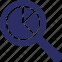 forecast, magnifier, pie graph, prediction, search icon