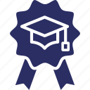 ability, badge, capability, mastery, mortarboard icon