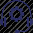 helpline, cog, support, headphones, service management icon