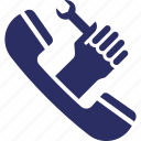 helpline, spanner, support line, technical support, call management icon