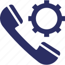 helpline, receiver, call management, technical support, cog icon