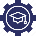 cog, knowledge, knowledge management, management, mortarboard icon