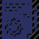 cogwheel, content management, file, management, pencil