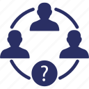 question mark, team, group, collaboration, analytical group icon