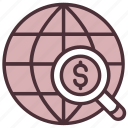 find, funding, global, investment, magnifier, search, worldwide icon