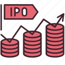 business, finance, initial, ipo, money, offering, public icon